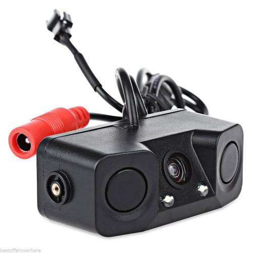 Camera parcheggio posteriore auto targa con 2 led, sensore e cicalino CLL-301