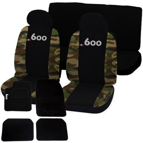 Coprisedili fiat 600 bicolore nero / mimetico classico + tappetini logo con strappo