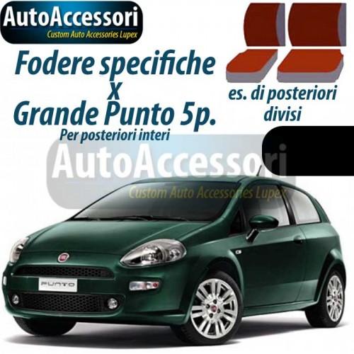 COPRISEDILI AUTO BICOLORE SPECIFICHE FIAT GRANDE PUNTO 5 PT NERO//GRIGIO SCURO