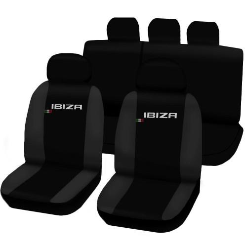 Coprisedili Seat Ibiza dal 2008 in poi bicolore nero - grigio scuro