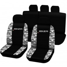 Coprisedili Seat Ibiza dal 2008 in poi bicolore nero - mimetico chiaro
