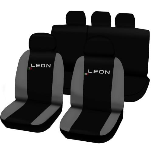 Coprisedili Seat Leon bicolore nero - grigio chiaro
