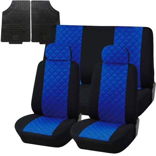 Coprisedili trapuntato universali con tappetini in gomma - blu royal nero
