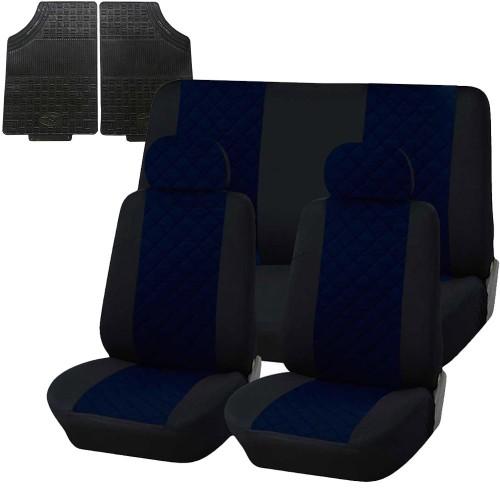 Coprisedili trapuntato universali con tappetini in gomma - blu scuro nero