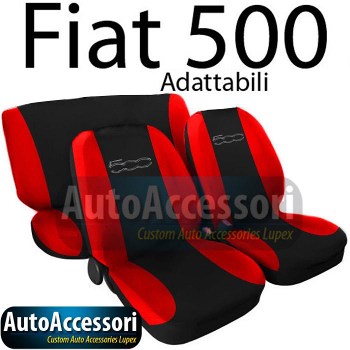 housses de siege couverture 2colores pour fiat 500 noir rouge ebay. Black Bedroom Furniture Sets. Home Design Ideas