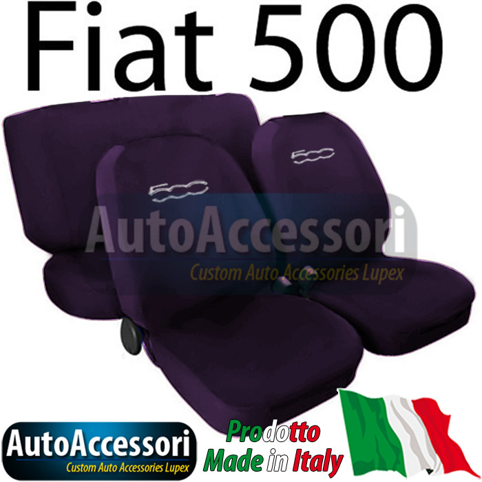 housses de sieges couverture couleur unie pour fiat 500 avec logo violet ebay. Black Bedroom Furniture Sets. Home Design Ideas