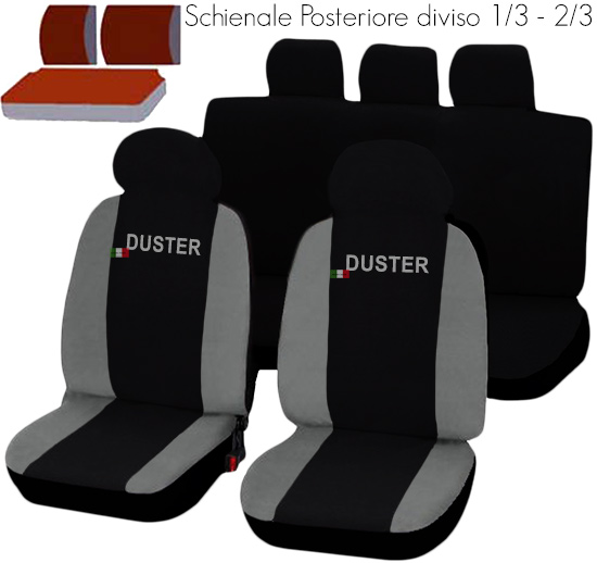 housses de siege deux color s dacia duster noir gris clair ebay. Black Bedroom Furniture Sets. Home Design Ideas