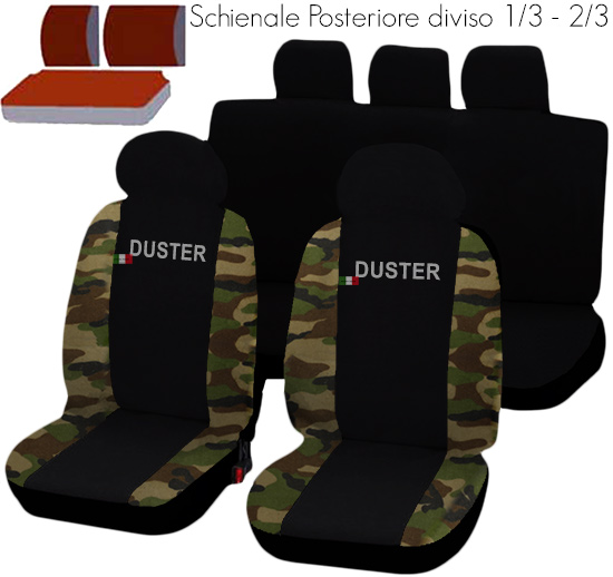 housses de siege deux color s dacia duster noir camouflage ebay. Black Bedroom Furniture Sets. Home Design Ideas