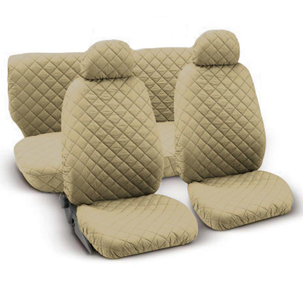 universal quilted cotton seat covers beige ebay. Black Bedroom Furniture Sets. Home Design Ideas