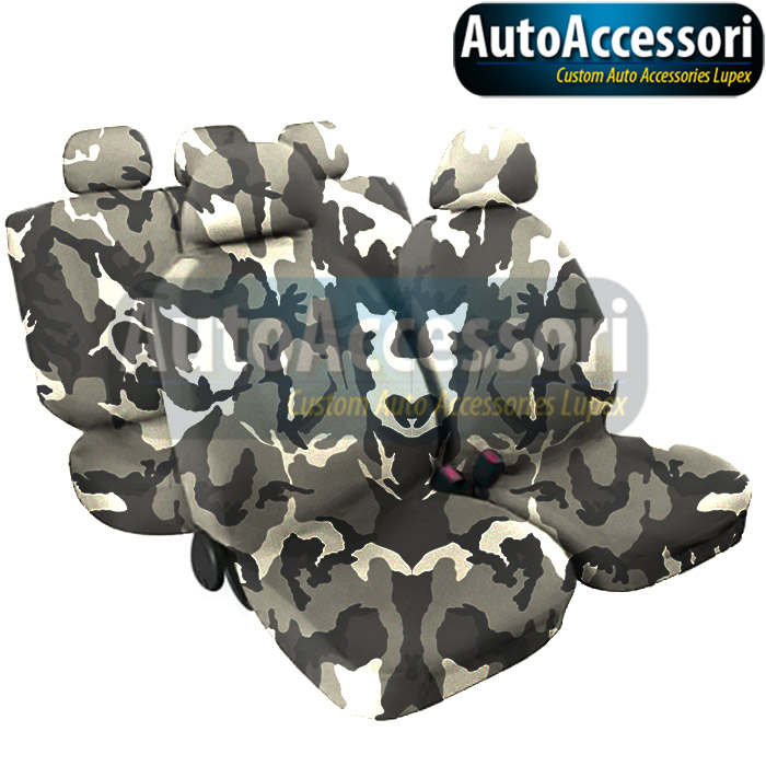 Coton camouflage housses de siege universelle gris ebay for Housse auto universelle